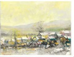 Picturi de iarna Peisaj de iarna cu case vechi