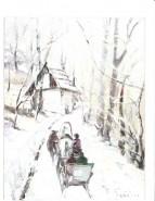 Picturi de iarna Sanie pe drum de padure