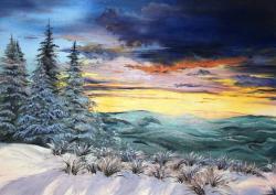 Picturi de iarna apus dupa munti