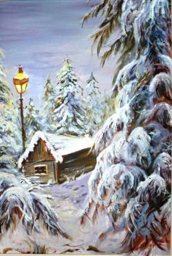 Picturi de iarna cabana singuratica