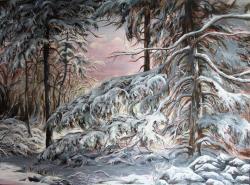 Picturi de iarna Iarna grea peste brazi