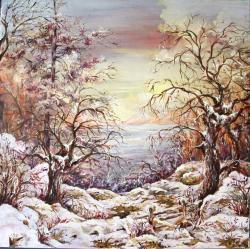 Picturi de iarna iarna printre ramuri