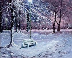 Picturi de iarna Seara de iarna in parc