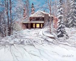 Picturi de iarna Seara prin nameti