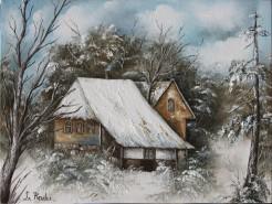 Picturi de iarna Iarna cu casute