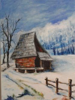 Picturi de iarna cabana refugiu