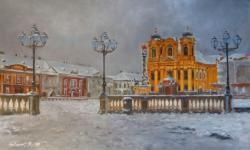 Picturi de iarna Piata Unirii sub zapada