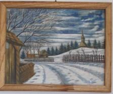 Picturi de iarna Intrare in sat