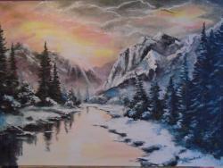 Picturi de iarna peisaj de iarna ....