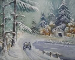Picturi de iarna Cu mașina prin pădure iarna