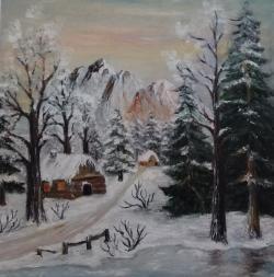 Picturi de iarna Ningea liniștit în pădure