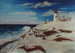 Picturi de iarna Far pe coasta