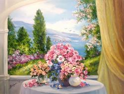 Picturi cu peisaje CU FLORI LA MALUL MARII