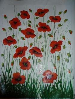 Picturi de primavara Maci cataratori rosii