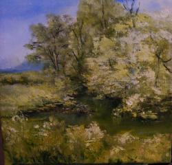 Picturi de primavara Palc de copaci langa apa