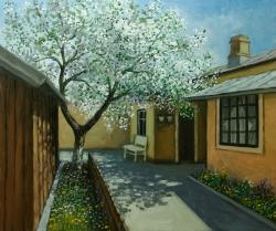 Picturi de primavara aprilie, o curte cu pom inflorit