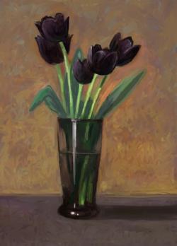 Picturi de primavara lalele negre in vas de sticla