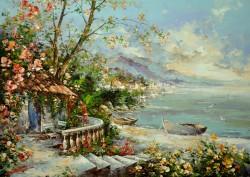 Picturi de primavara Casa de la marginea lacului