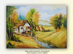 Picturi de primavara La moara (1) - pictura peisaj rural, ulei pe panza 32x24cm