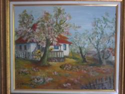 Picturi de primavara Casa pe deal