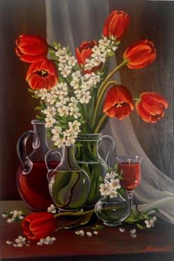 Picturi cu flori Lalele rosii 2