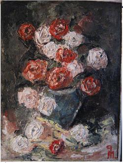 Picturi de primavara Trandafiri rosii si albi