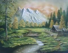 Picturi de primavara Peisaj munte