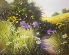 Picturi de primavara Florii pe camp,multe flori