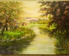 Picturi de primavara Peisaj de primavara-vioara