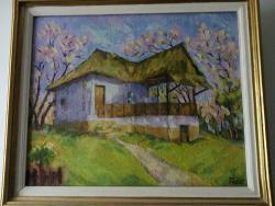 Picturi de primavara casa taraneasca primavara ,anii 90