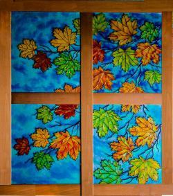 Picturi de toamna Vitraliu cu frunze de toamna