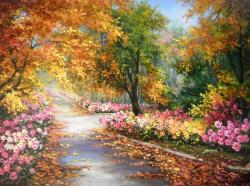 Picturi de toamna Frunze, flori si amintiri
