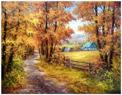 Picturi cu peisaje LA DRUM CU TOAMNA