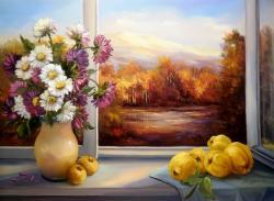 Picturi de toamna Miraj in fereastra