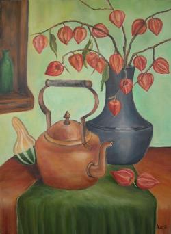 Picturi de toamna Natura statica cu ceainic