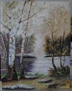 Picturi de toamna Lac cu mesteceni