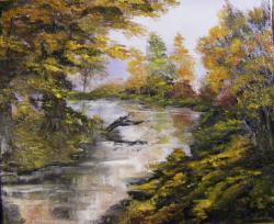 Picturi de toamna Copacul de la cotul raului