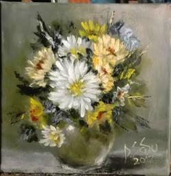 Picturi de toamna Crizanteme pastelate
