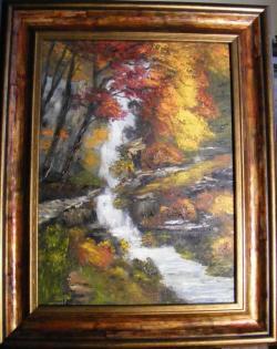 Picturi de toamna Peisaj tomnatic cu cascada