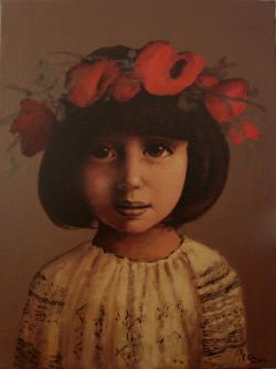 Picturi de toamna Copila cu coronita