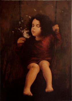 Picturi de toamna fetita cu papadie