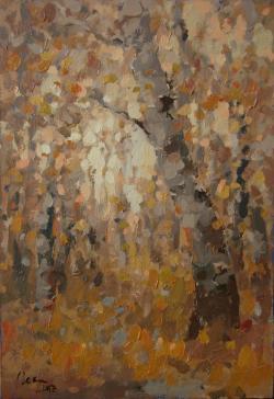 Picturi de toamna Toamna printre mesteceni, ulei pe carton