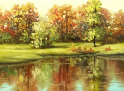 Picturi de toamna Peisaj cu lac