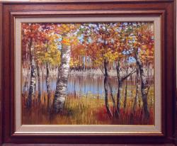 Picturi de toamna toamna, malul lacului 2017, inramat