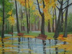 Picturi de toamna dupa ploaie in parc