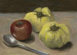 Picturi de toamna natura moarta cu fructe si lingurita
