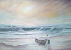 Picturi maritime navale pescar pe plaja Stena