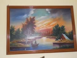 Picturi de toamna Apus  pe lac