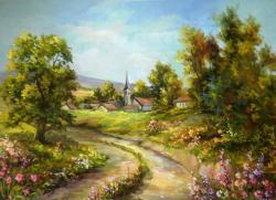 Picturi cu peisaje DRUMUL SPRE SAT