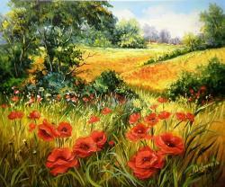 Picturi cu peisaje MACI IN IARBA